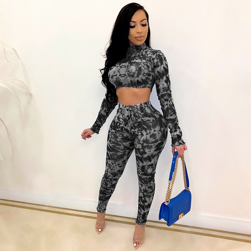ML22389 Sexy Women O-neck Long Sleeve Two Pieces Summer Cloth Set Crop Top+Pants