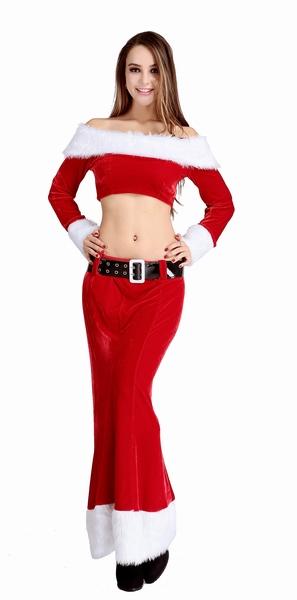 ML8068 Horizontal Collar Short Top Long Christmas Dress