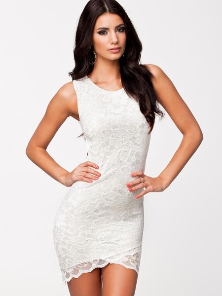 ML18104 Midriff Sleeveless Lace Back Party Dress