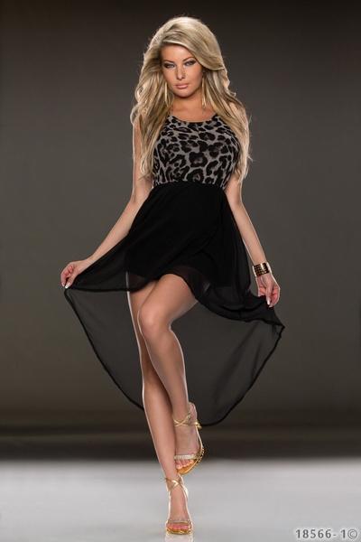 ML18111 Leopard top long dress short front dress