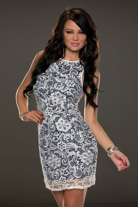 ML18165 Sleeveless O-Neck Lace Mini Dress