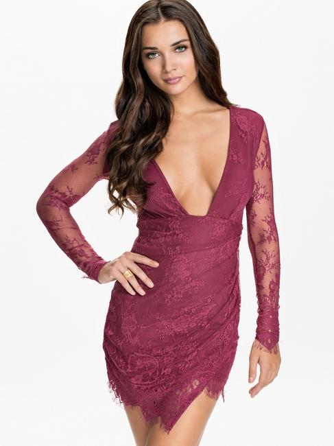 ML18175 Sexy Deep-V Neckline Lace Long Sleeve Mini Dress