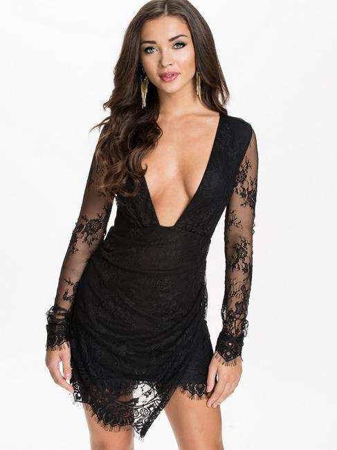 New Arrival ML18176 Deep V Neckline Lace Back Mini Dress