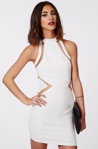 ML18258 High Neckline fascinating White Mini Sexy Dresses