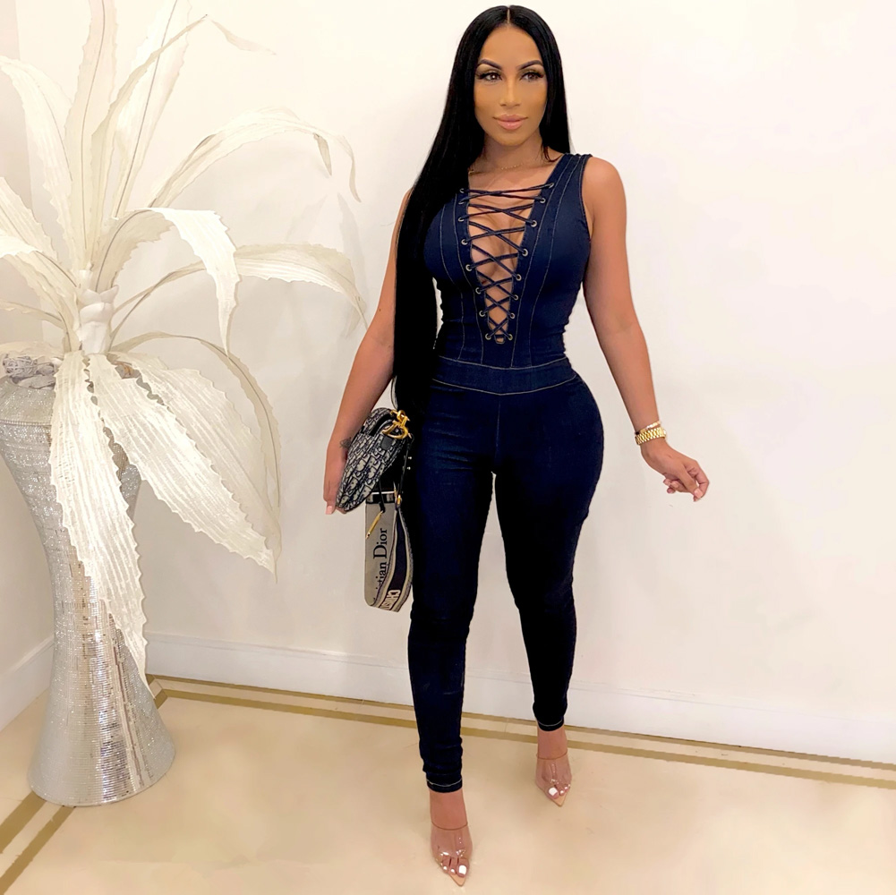 ML23007 Sexy Women Lace Up Sleeveless Bodycon Casual Jeans Jumpsuit