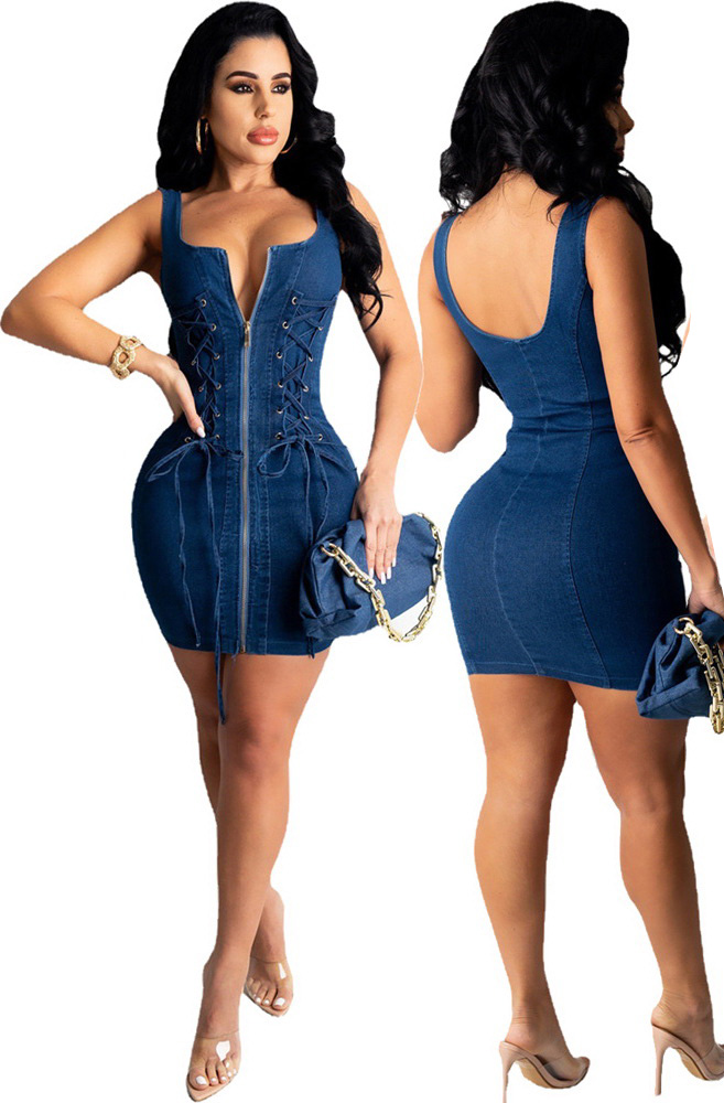 ML23156 Sexy Women Sleeveless Lace Up Bodycon Jeans Skater Dress