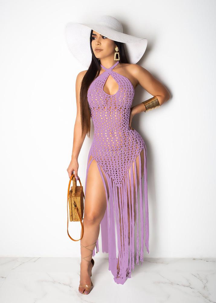 ML23216 Sexy Women Halter Backless Elegant Knitting Beach Summer Dress