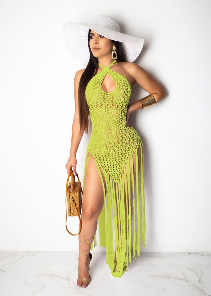 ML23211 Sexy Women Halter Backless Elegant Knitting Beach Summer Dress