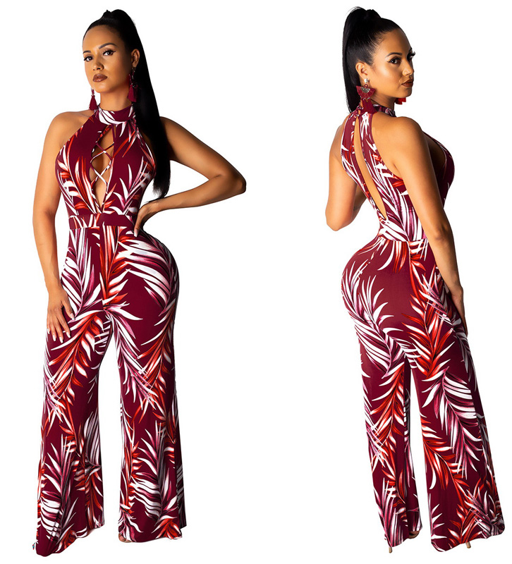 ML22967 Sexy Women O-neck Sleeveless Elegant Floral Print Casual Jumpsuit