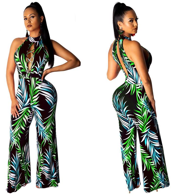 ML22968 Sexy Women O-neck Sleeveless Elegant Floral Print Casual Jumpsuit