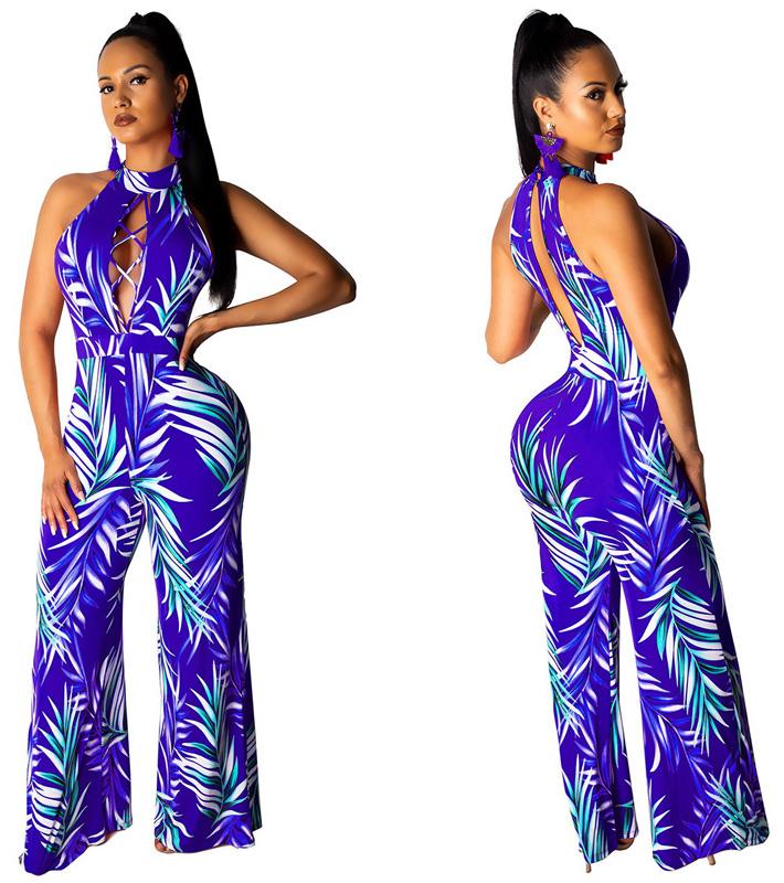 ML22969 Sexy Women O-neck Sleeveless Elegant Floral Print Casual Jumpsuit