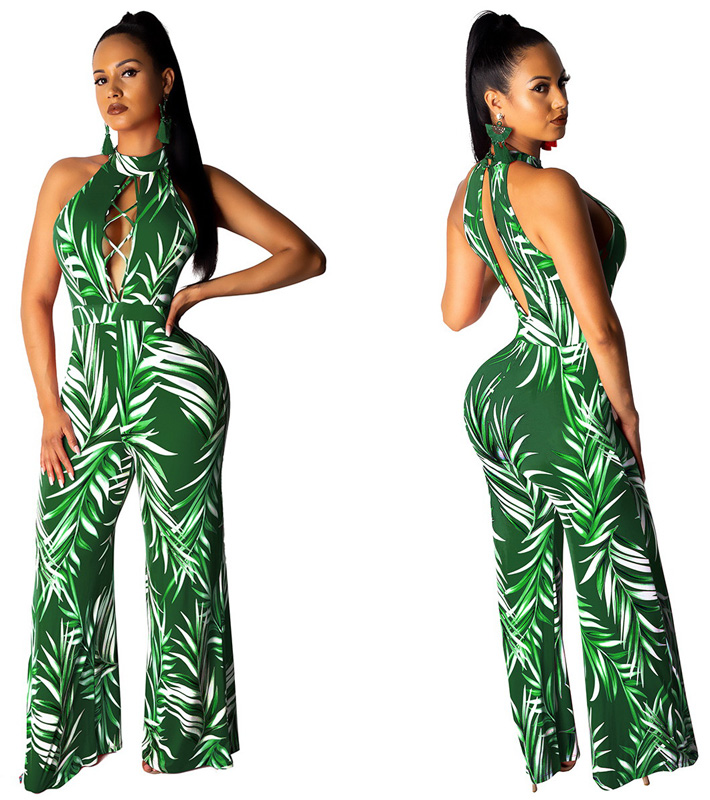 ML22971 Sexy Women O-neck Sleeveless Elegant Floral Print Casual Jumpsuit