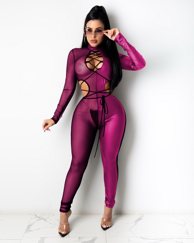 ML22973 Sexy Women Patchwork Mesh Bodycon See Through Club Jumpsuit