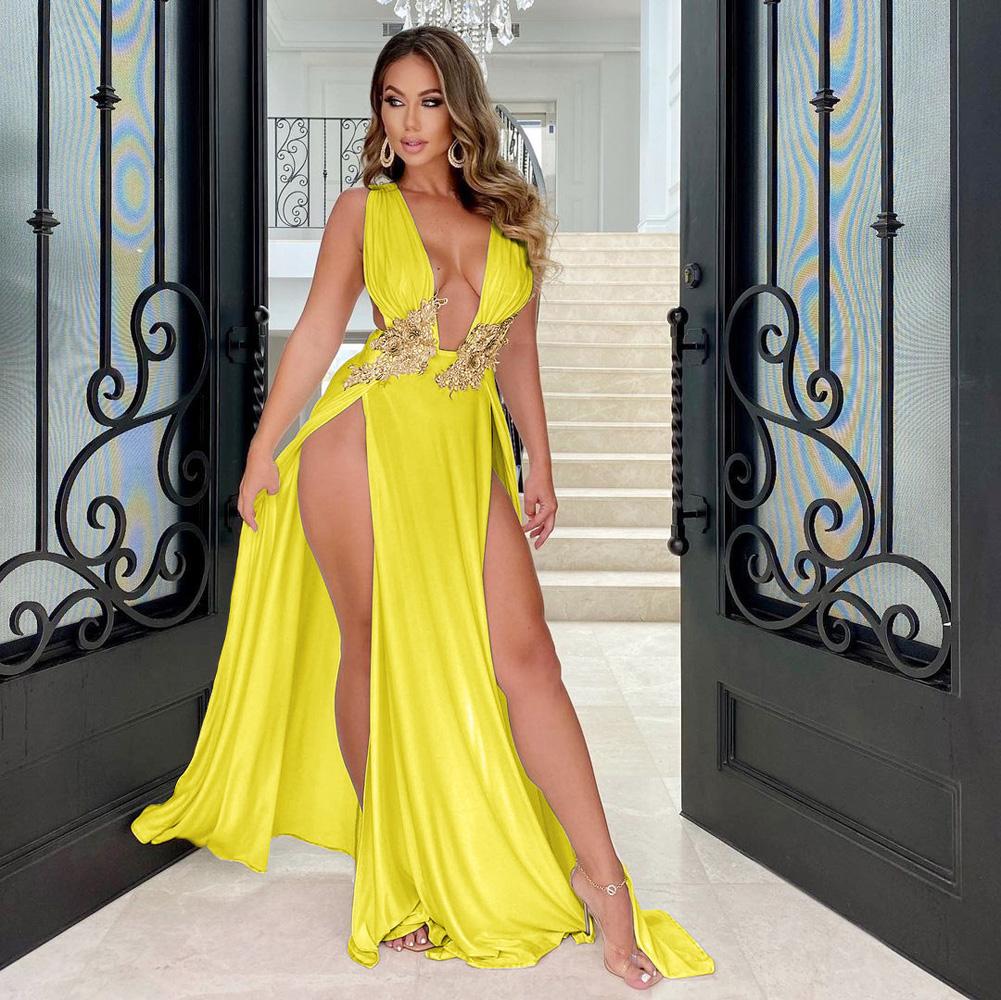 ML23224 Sexy Women V-neck Sleeveless Elegant Split Party Dress