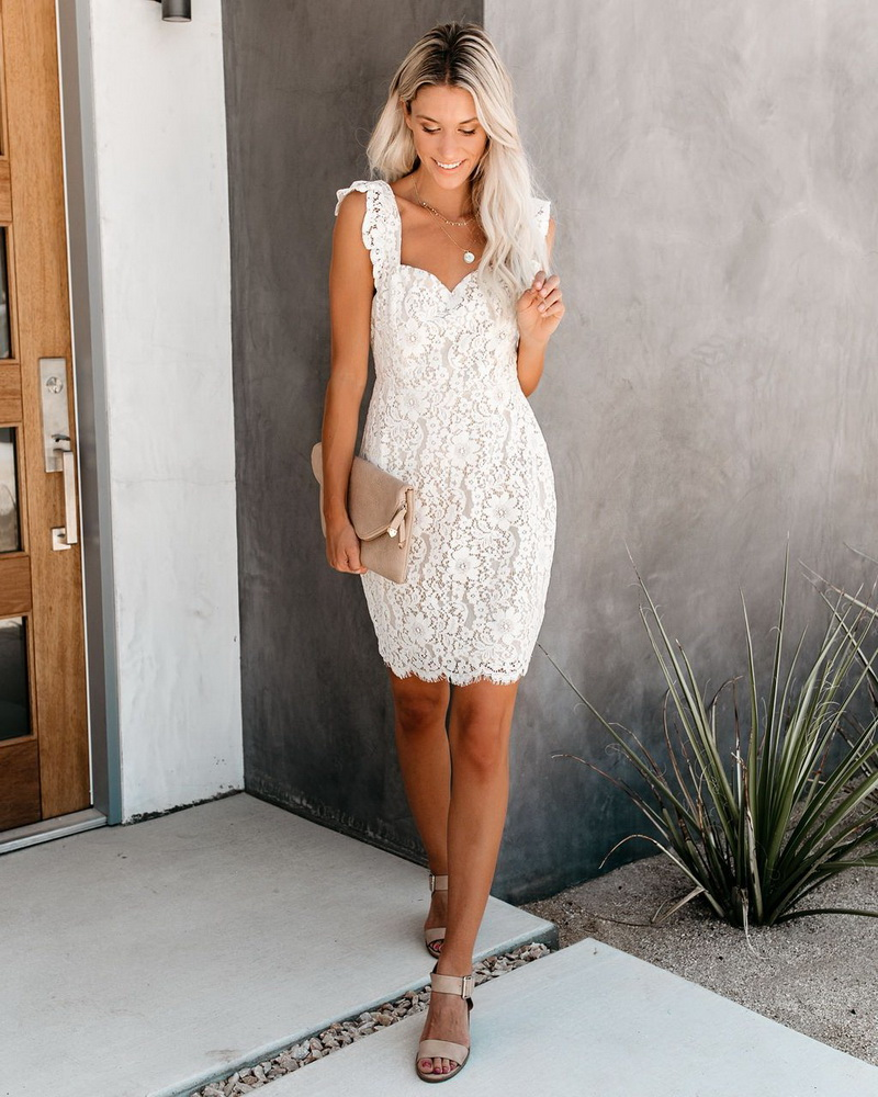 ML22432 Sexy Women V-neck Sleeveless Bodycon Lace Party Dress