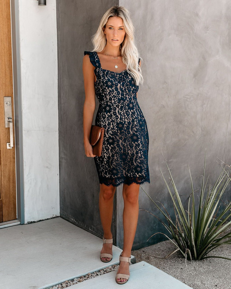 ML22434 Sexy Women V-neck Sleeveless Bodycon Lace Party Dress