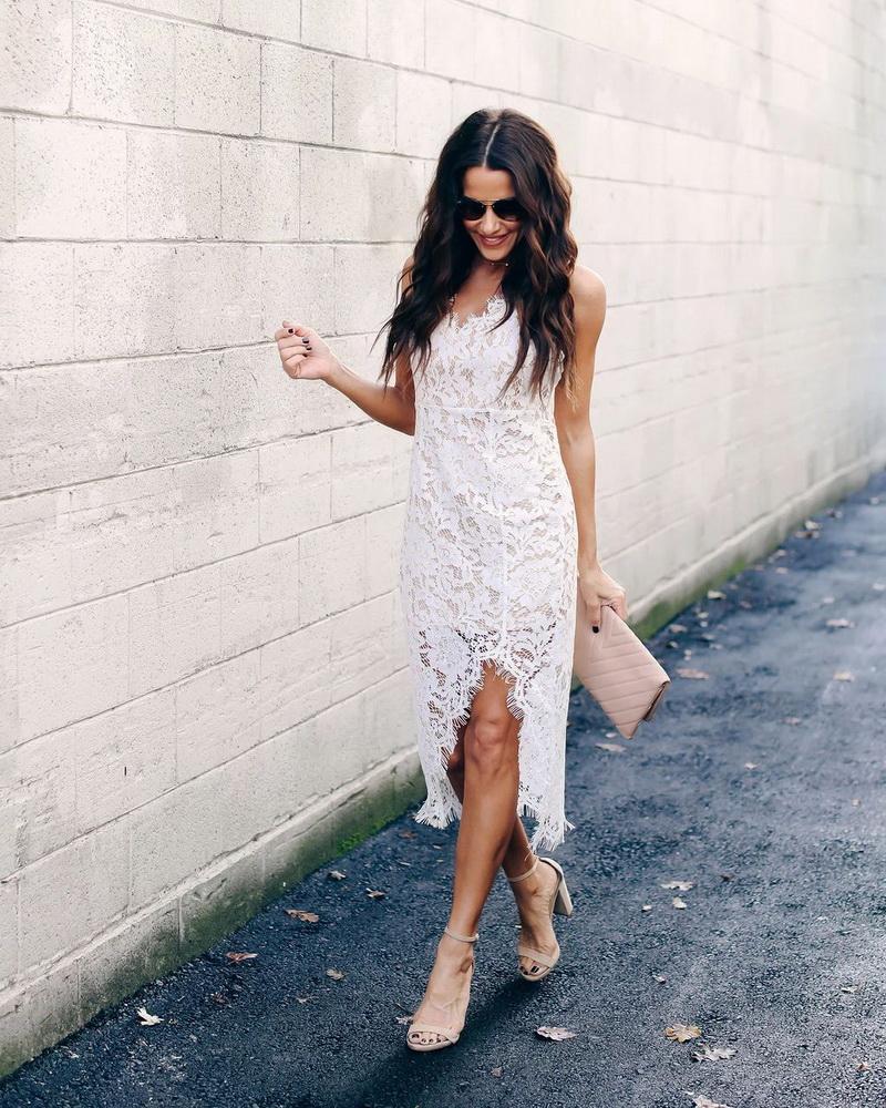 ML22435 Sexy Women Spaghetti Strap Bodycon Lace Party Dress