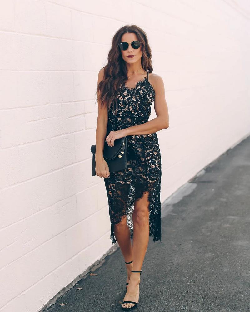 ML22436 Sexy Women Spaghetti Strap Bodycon Lace Party Dress