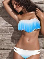 Classy Fashion Sexy White & Blue Ruffle Strapless Fringe Bikini Sets