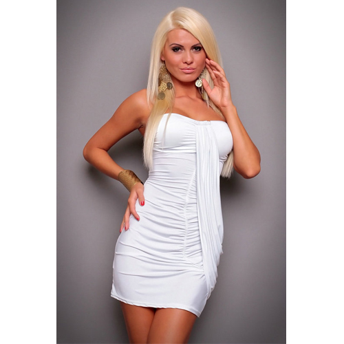 Latest Sleeveless White Tube Dress Sexy Club wear