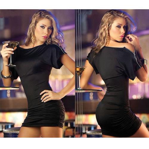 Black Sexy Dress Satin Babydoll with zipper