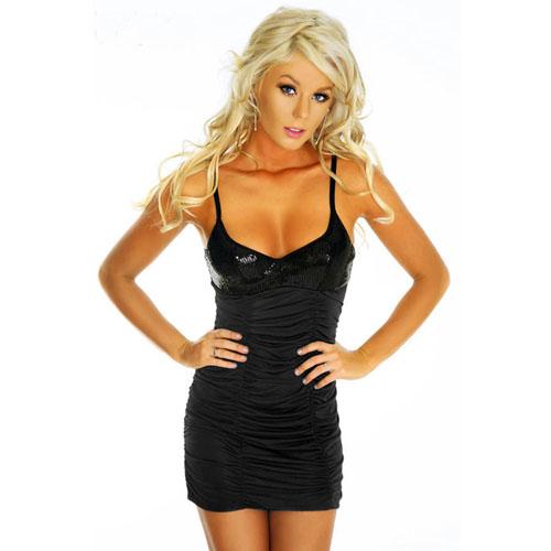 Black Ruffled Sleeveless Sexy dress