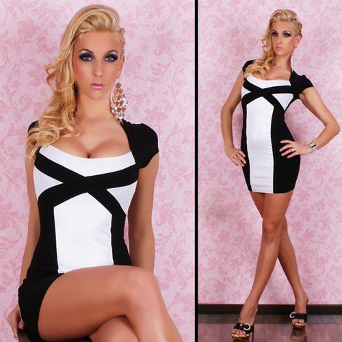 black white fashion tight evening dress