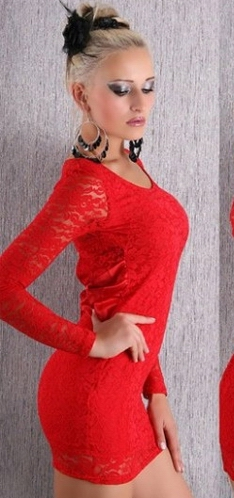 Sexy Elegant O-neckline Lace Long Sleeves Red Party Dress