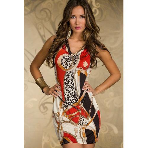Red Color Silklish Sleeveless V Neck Mini Dress