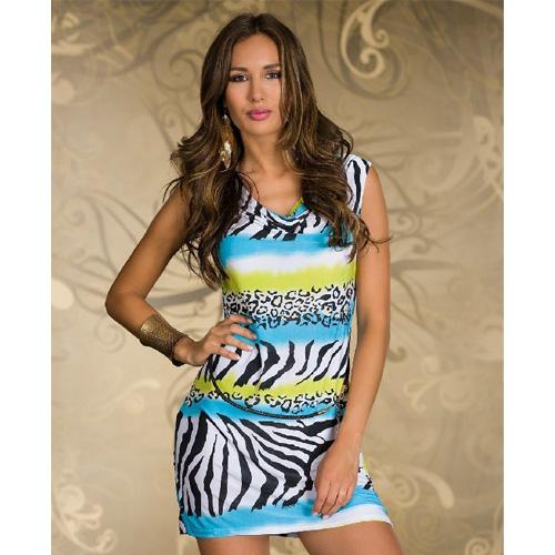 New Arrlval Light Blue Animal Print Stripe Dress Women Sexy Miini Dresses