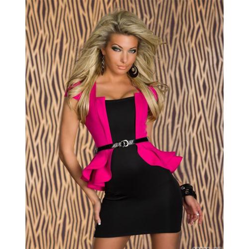 ML17894 Peplum Business Style Dress Fuschia