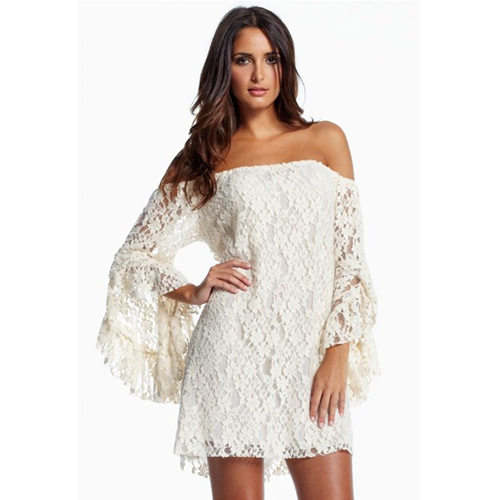 ML17940 2014 New Arrival white off the shoulder dress