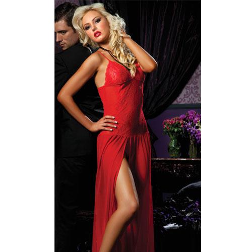 Red Moonlight Floor Length Sleepwear Gown