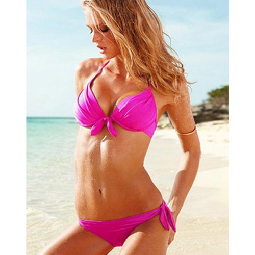 Pretty Sexy Hot Women Ladies Bikini Push-up Tie String Charm Halter Low Rise Swimwear