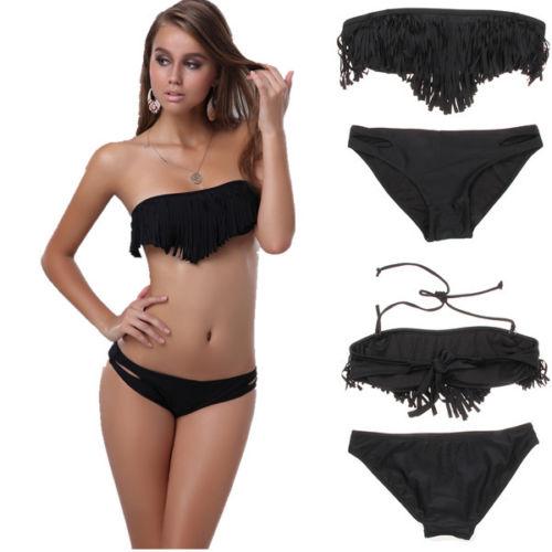 ML37089 Black Fringe Bikini Swimwear