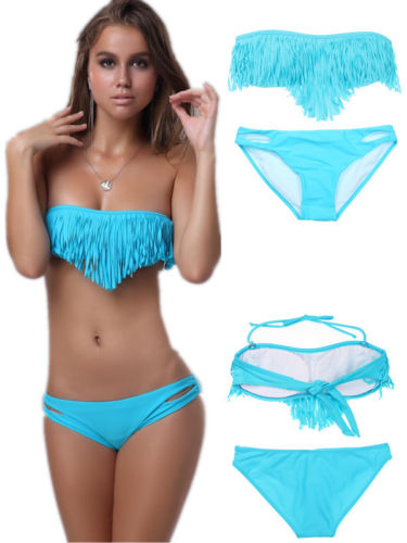 ML37090 Sexy Blue Fringe Swimwear