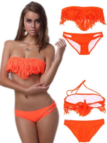 ML37093 Sexy Orange Fringe Swimwear