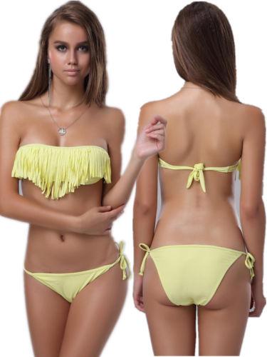 ML37096 Sexy Yellow Fringe Bikini Sets