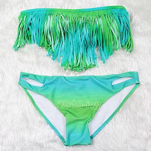 ML37100 Blue mixed Green Fringe Bikini