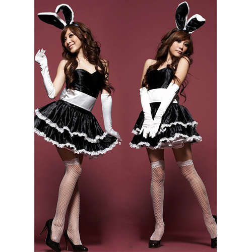 Charming Bunny Cosplay Women Costume Set Red/Black/Pink (Bunny's Ear + Skirt + Gloves + G-string + Apron) ML5015