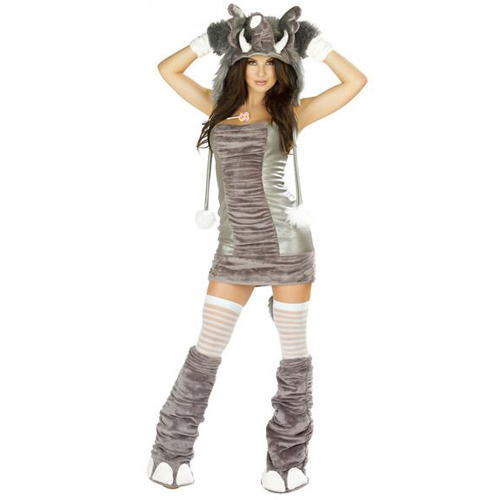 Grey Elephant Dress Costume & J Valentine Complete 4 Piece Elephant Costume Set