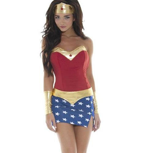 Sexy Wonder Woman Ladies Superhero Fancy Dress Costume Golden Trimmed Star Girl Wonder woman Halloween Costume ML5203
