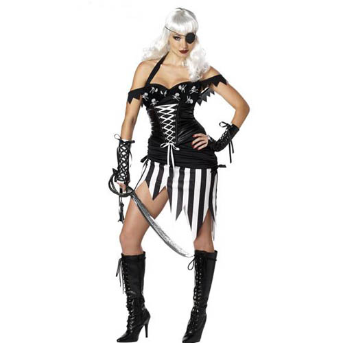 ML5227 Marauder Pirate Costumes Fashion Pirate Costume Fancy Dress Adult Lingerie Costumes (Dress+Gloves+Eye Patch)