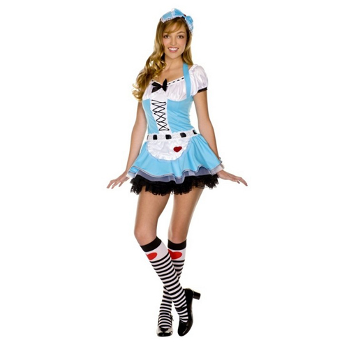 Little Miss Muffet Apron Lace up Sexy Alice Bonnet Costume