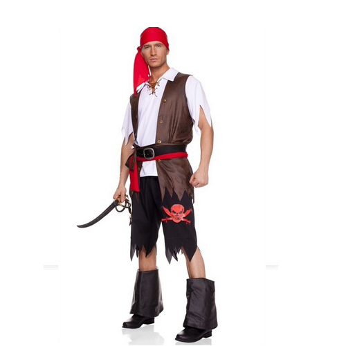 6 pc.Buccaneer men's Pirate Costume includes:head scarf,shirt,vest and tattered pants,waist sash and belt