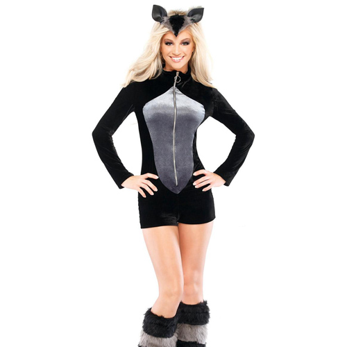 Top Quality Gray and Black Halloween Womens Romper Racoon Long Sleeves Sexy Raccoon Costume