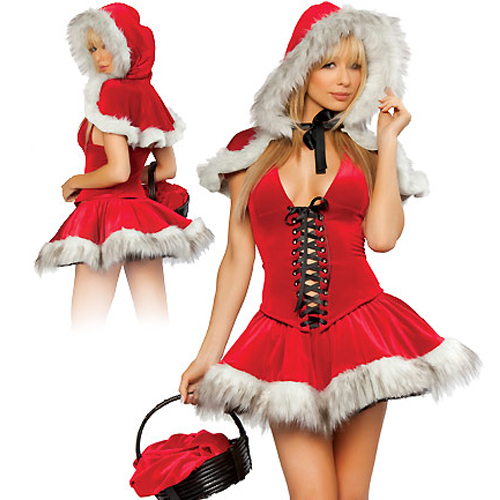 Elegant and glamorous Red Polyester and Spandex Strapless lady Christmas Dress Costumes