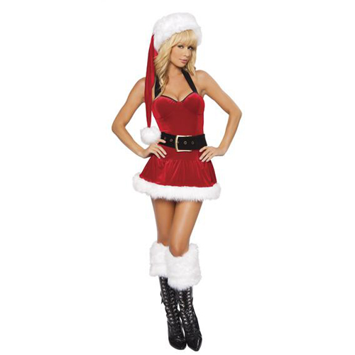 2013 New hot and sexy halter suit white fur santa plus red velvet christmas dress