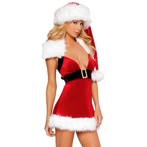ML8030 Hot Selling Elegant and glamorous Red Polyester and Spandex Strapless Lady Christmas Dress Costumes