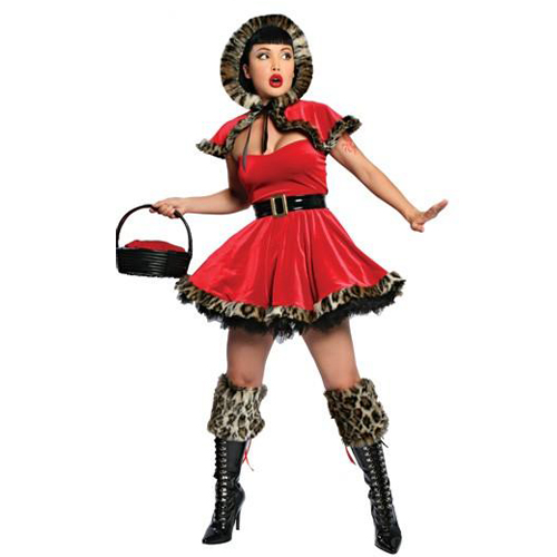 Red feather trimed lady christmas costume